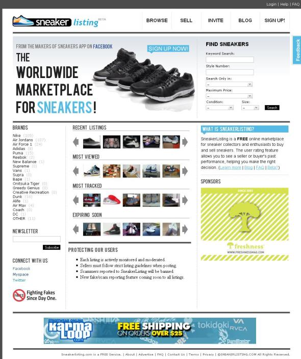 Screenshot of Sneakerlisting