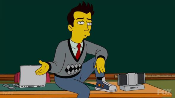 simpsons new teach wearing Converses