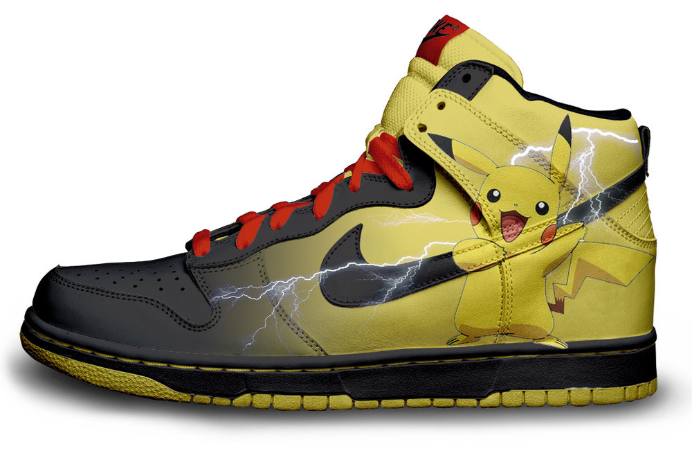 Pikachu Nike Shoes for Sale http://blog.sneakersandshoes.com/2010/01/14/pikachu-custom-dunks-by-daniel-reese/