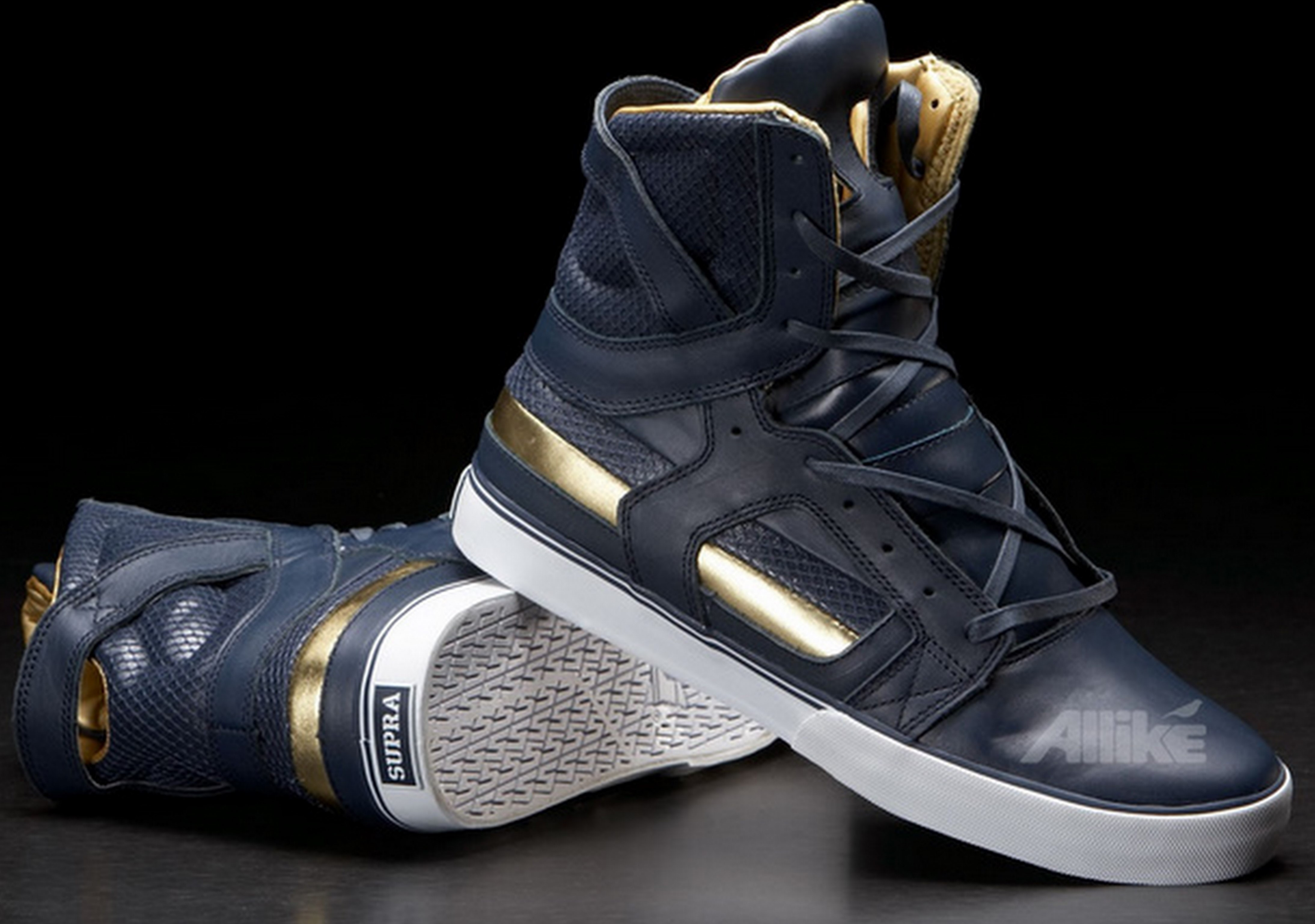 Black And Gold Supra Shoes