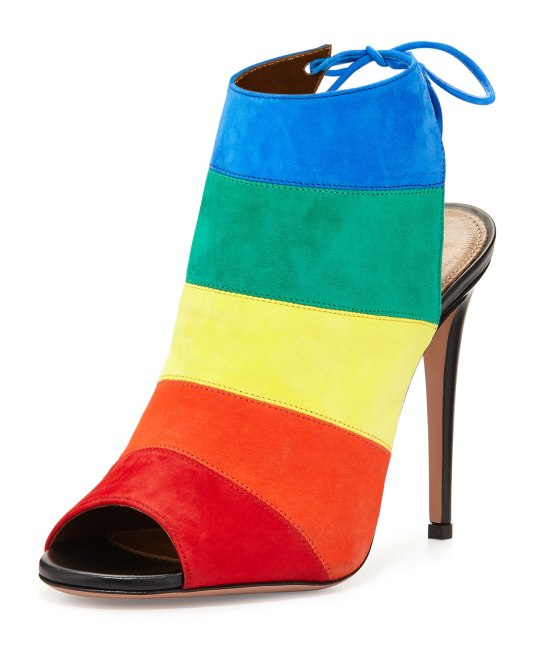 Aquazzura Rainbow Striped Suede Sanda